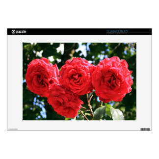 """Four red roses in flower in garden 15"""" laptop decal"""