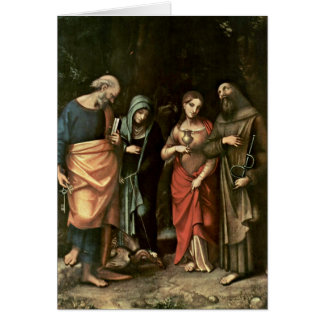 Four Saints By Antonio Allegri Da Correggio Card