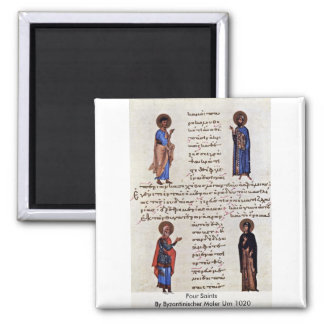 Four Saints By Byzantinischer Maler Um 1020 2 Inch Square Magnet