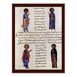 Four Saints By Byzantinischer Maler Um 1020 Postcard