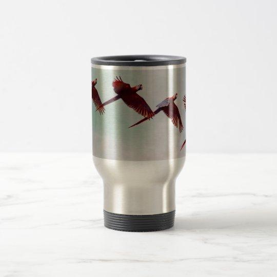 Four Scarlet Mackaws Flying Travel Mug