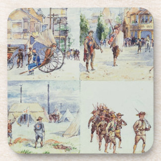 Four scenes from the Boer War, from a sketchbook, Coaster