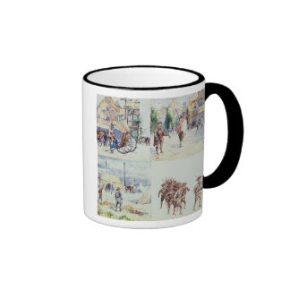 Four scenes from the Boer War, from a sketchbook, Ringer Coffee Mug