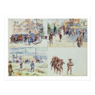 Four scenes from the Boer War, from a sketchbook, Postcard