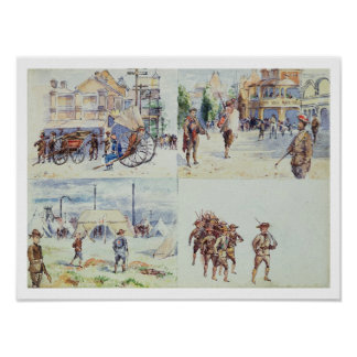 Four scenes from the Boer War, from a sketchbook, Poster