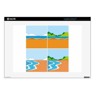 "Four scenes of beach and ocean 15"" laptop skin"