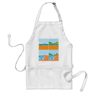 Four scenes of beach and ocean adult apron