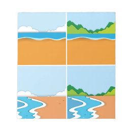Four scenes of beach and ocean notepad