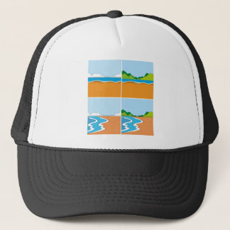 Four scenes of beach and ocean trucker hat