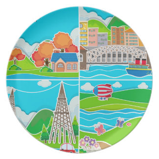 Four scenes of city and countryside melamine plate