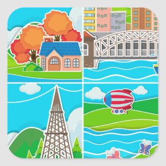 Four scenes of city and countryside square sticker