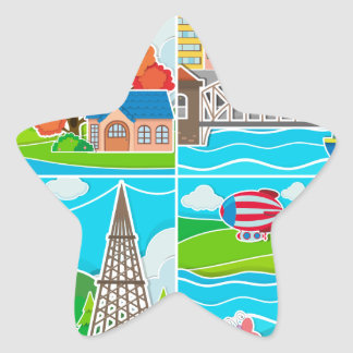 Four scenes of city and countryside star sticker