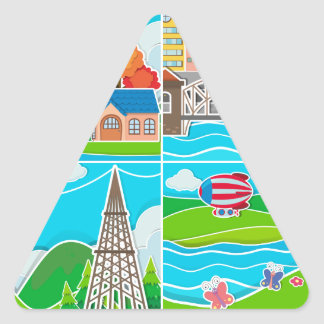Four scenes of city and countryside triangle sticker