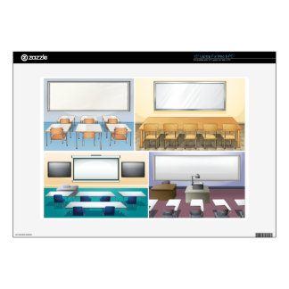 """Four scenes of classroom decal for 15"""" laptop"""