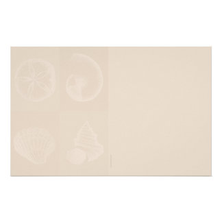 Four Sea Shells Light Taupe  Stationery