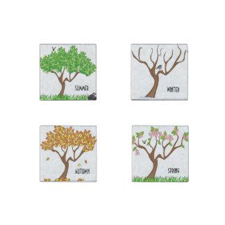 Four Season Trees Stone Magnet