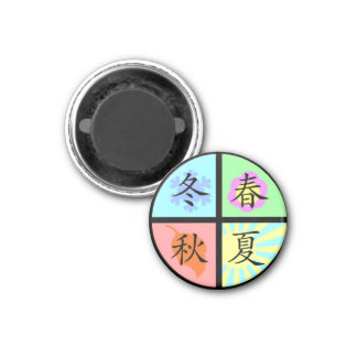 Four Seasons 1 Inch Round Magnet