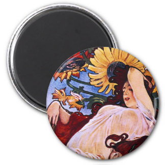 Four Seasons Alfons Mucha 2 Inch Round Magnet