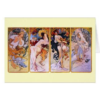 Four Seasons Alfons Mucha Greeting Card