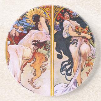 Four Seasons Alfons Mucha Coaster