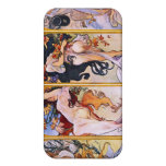 Four Seasons Alfons Mucha iPhone 4 Covers