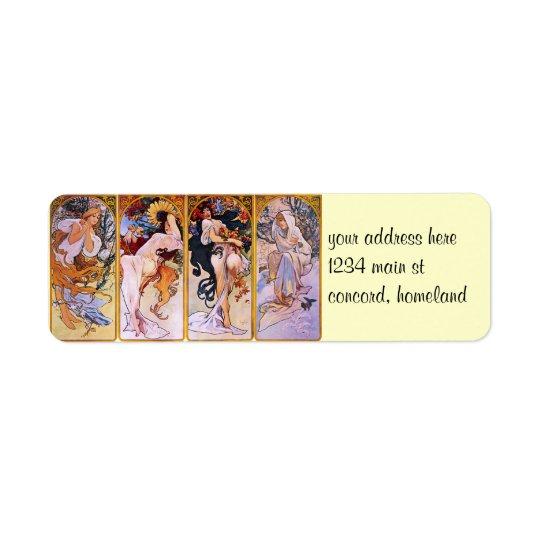 Four Seasons Alfons Mucha Label