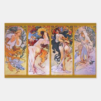 Four Seasons by Alfons Mucha Rectangular Sticker