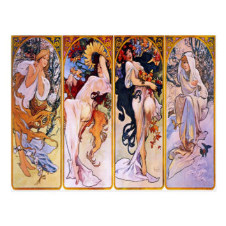 Four Seasons by Alphonse Mucha 1895 Postcard
