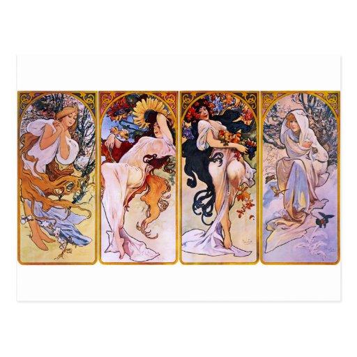 Four Seasons by Alphonse Mucha Post Card