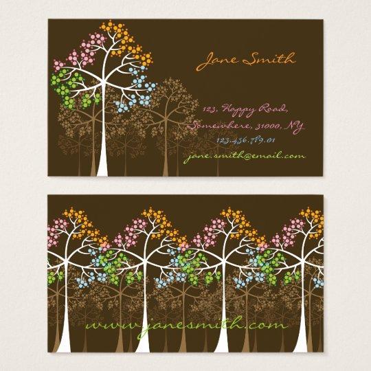 Four Seasons Colorful Trees Custom Business Cards