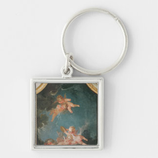 Four Seasons in the Salle du Conseil  - Winter Silver-Colored Square Keychain