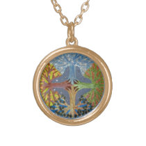 Four Seasons Mandala Gold Finish Necklace