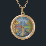 """Four Seasons Mandala Gold Plated Necklace<br><div class=""""desc"""">This mandala represents the four seasons featuring a Maple tree. This is a great gift to celebrate solstice or equinox. Mandala is a Sanskrit word that means &quot;circle&quot;. In the Hindu and Buddhist religious traditions,  their sacred art often takes a mandala form.</div>"""