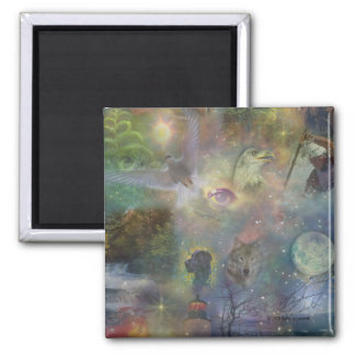 Four Seasons - Spring Summer Winter Fall 2 Inch Square Magnet