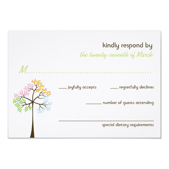 Four Seasons Trees Nature Forest Wedding RSVP Card