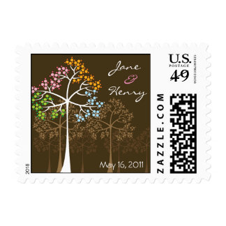 Four Seasons Trees on Brown Invitation Stamps