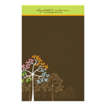 Four Seasons Trees on Brown Note Card Stationery