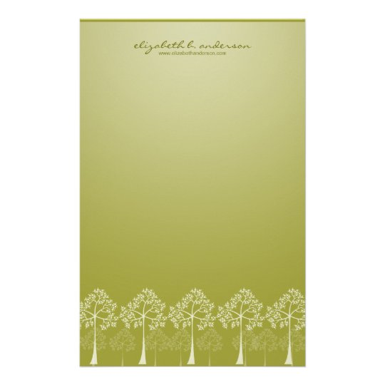Four Seasons Trees White Note Card Stationery