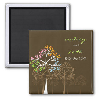 Four Seasons Trees Woodland Wedding Save The Date Magnets