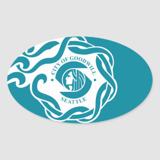 FOUR Seattle Flag Oval Sticker