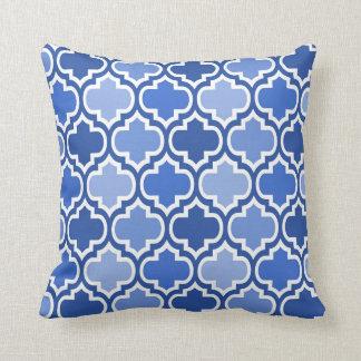 Four Shades Quatrefoil Pattern Cushion Blue Pillows