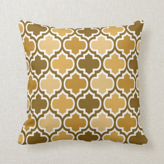Four Shades Quatrefoil Pattern Cushion Brown