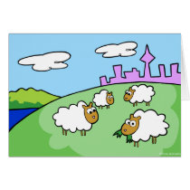Four sheep on a hill greeting card