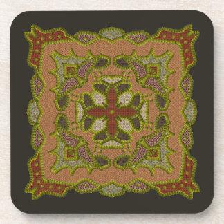 Four Sided Beaded Mandala Coaster