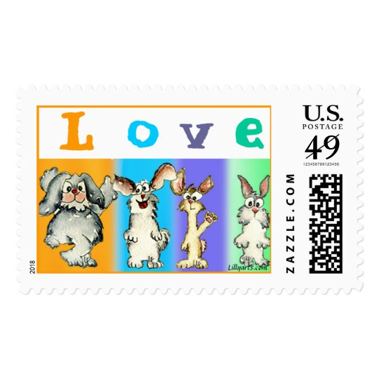Four Silly Rabbits of LOVE Custom Postage Stamps