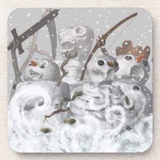 Four Snowmen of the Apocalypse Cork Coaster