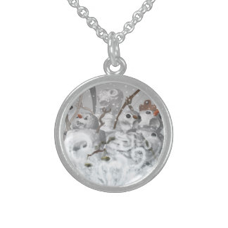 Four Snowmen of the Apocalypse Sterling Silver Necklace