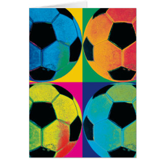 Four Soccer Balls in Different Colors Card