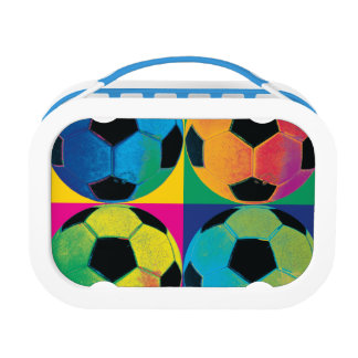 Four Soccer Balls in Different Colors Lunch Box