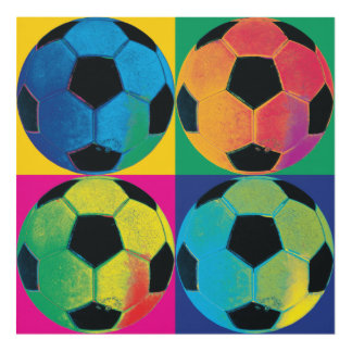 Four Soccer Balls in Different Colors Panel Wall Art